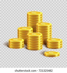 Piles of shiny gold coins with dollar sign