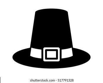 Pilgrim hat on Thanksgiving or capotain flat vector icon for apps and websites