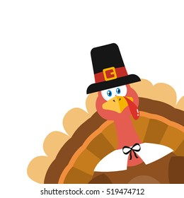 Pilgrim Turkey Bird Cartoon Mascot Character Peeking From A Corner. Vector Illustration Flat Design Isolated On White Background