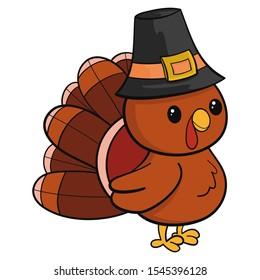 Pilgrim Turkey Bird. Happy Thanksgiving Day. Funny cartoon turkey bird in pilgrim hat. Vector illustration in cartoon style. Isolated on white background.