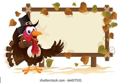 Pilgrim Turkey With A Signboard