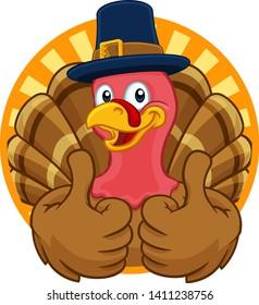 Pilgrim Turkey Thanksgiving bird animal cartoon character wearing a pilgrims hat giving a thumbs up