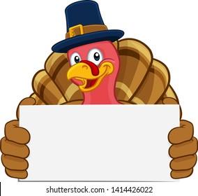 Pilgrim Turkey Thanksgiving bird animal cartoon character wearing a pilgrims hat. Holding a white background sign.