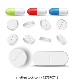 Pill Antibiotic Vector. Medical Treatment Capsule And Drugs Set. Painkiller, Pharmaceutical Antibiotic Pill Icon. Realistic Isolated Illustration