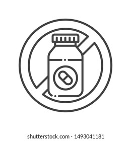 Pill bottle allergy line black icon. Allergic reaction to drug. Medication intolerance. Hypersensitivity to the individual components of the product. Vector isolated element. Editable stroke.