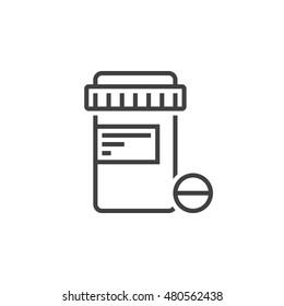 Pill bottle line icon, Medications jar outline vector logo illustration, linear pictogram isolated on white