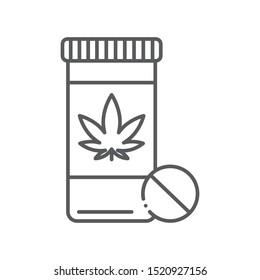 Pill bottle marijuana black line icon. Narcotic substance. CBD, alternative to medicine product sign. Pictogram for web page, mobile app, promo. UI/UX/GUI design element. Editable stroke.