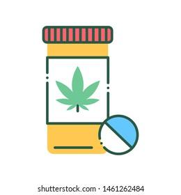 Pill bottle marijuana color line icon. Narcotic substance. CBD, alternative to medicine product sign. Pictogram for web page, mobile app, promo. UI/UX/GUI design element. Editable stroke.