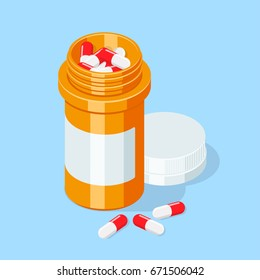 Pill bottle. Medical capsules container. Isometric vector illustration