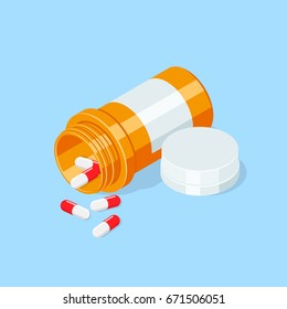 Pill bottle. Medical capsules container .Isometric vector illustration