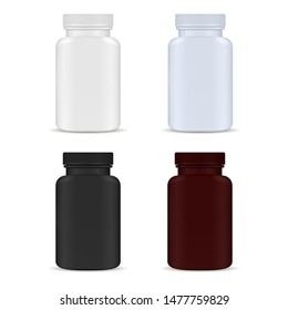 Pill Bottle. Medicine Bottle Set. Plastic Package Blank. Supplement Capsule Jar Isolated on White Background. Healthy Pharmaceutical Product Container. Pharmacy Remedy Packaging Collection