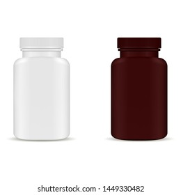 Pill Bottle Packaging Mockup. Medicine Pack Blank. Pharmacy Remedy Bottle Template. 3d Package Mock up. Pharmaceutical Container 3d Vector Design. Supplement Tablet Jar Isolated on White