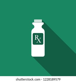 Pill bottle with Rx sign and pills icon isolated with long shadow. Pharmacy design. Rx as a prescription symbol on drug medicine bottle. Flat design. Vector Illustration