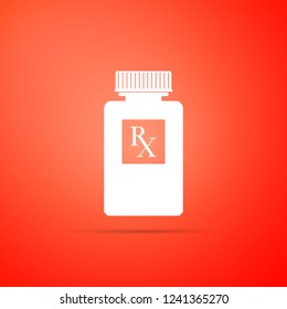 Pill bottle with Rx sign and pills icon isolated on orange background. Pharmacy design. Rx as a prescription symbol on drug medicine bottle. Flat design. Vector Illustration