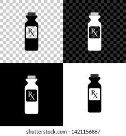 Pill bottle with Rx sign and pills icon isolated on black, white and transparent background. Pharmacy design. Rx as a prescription symbol on drug medicine bottle. Vector Illustration