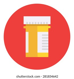 Pill bottle with various pills and capsules Icon with flat design element. Modern style logo vector illustration concept. Isolated on white background. First aid, diagnostic.Health care
