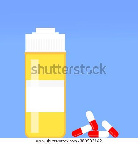 Pill Bottle Various Pills Capsules Bottle Stock Vector