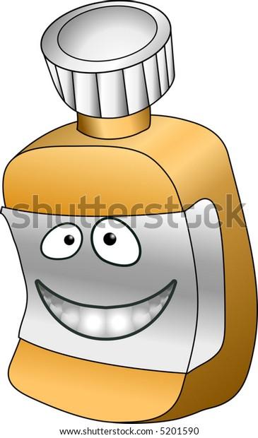 Pill bottle.  A vector illustration of an anthropomorphic pill / vitamin bottle