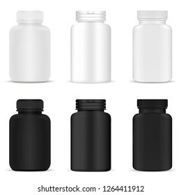 Pill Bottles Mockup Set. Medicine Tablet Plastic Container. Pharmaceutical Drug Jar. Round Blank Pakage for Supplenment, Tab in Black and White. 3d Vector Realistic Packaging Closup. Medical Cylinder.