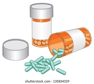 Pill Bottles-Prescription Drug is an illustration of two pill bottles. One of the bottles is open and spilling pills out of it.