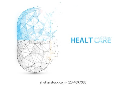Pill capsule icon form lines, triangles and particle style design. Illustration vector