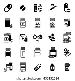 Pill or drug vector icon set isolated. Pharmacy symbol collection.