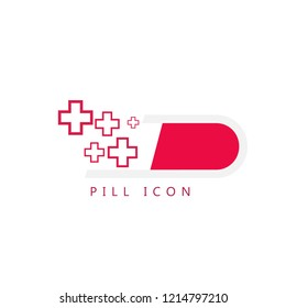 Pill icon with medical crosses isolated on white background. Vector illustration. Flat design