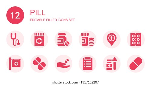 pill icon set. Collection of 12 filled pill icons included Phonendoscope, Drug, Pills, Vitamins, Hospital, Vitamin, Medicine, Diagnosis, Pill