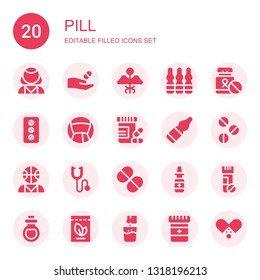 pill icon set. Collection of 20 filled pill icons included Psychologist, Medicine, Ampoule, Pill, Vitamins, Vials, Pills, Phonendoscope, Vitamin, Nasal spray, Remedy, Effervescent