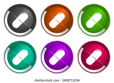 Pill icons, medicine vector illustration, set of colorful buttons
