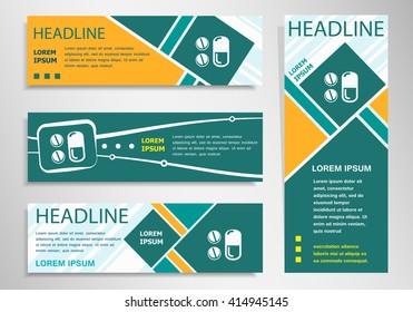 Pill symbol on horizontal and vertical discount banner, header. Modern banner design template