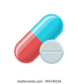 Pill and tablet icon. Pills vector illustration. Medical and hospital icon. Color icon on white background. Pill and tablet logo, pill and tablet eps, pill and tablet vector