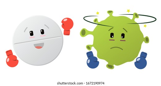 Pill and virus in the ring. Medication. In boxing gloves. The fight against the disease. Pill boxer. The virus is a boxer. Red boxing gloves. Blue gloves. Funny face. Vector. Isolated.
