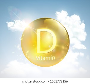 Pill vitamin D against the sky with the sun and clouds. Vector illustration.