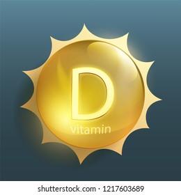 Pill vitamin D with sun rays. Stock vector illustration.