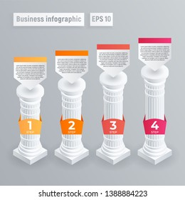 Pillar 4 column infographic. Isometric of pillar 4 column vector infographic for web design
