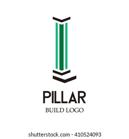 pillar building abstract vector and logo design or template construction icon of buildings symbol concept