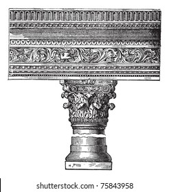 Pillar in the Church of Saint John in Constantinople, now called Istanbul, Turkey, vintage engraving. Old engraved illustration of a pillar in the Church of Saint John in Constantinople.