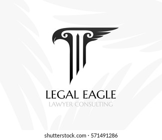Pillar with eagle had and wing. Law firm logo template. Concept for legal firms, notary offices or justice companies
