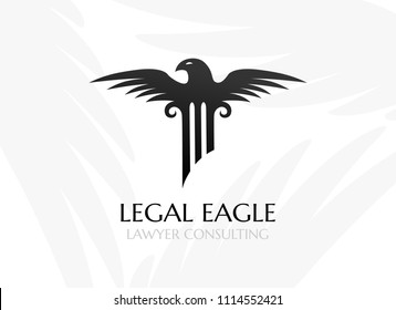 Pillar with eagle had and wings. Law firm logo template. Concept for legal firms, notary offices or justice companies