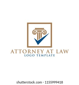 Pillar element attorney at law logo design template