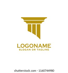Pillar icon design. Creative pillar logo design related to attorney, law firm, lawyers, building, architect or university