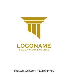 Pillar-Icon-Design. Design des Creative-Pfeiler-Logos für Anwälte, Anwälte, Anwälte, Gebäude, Architekten oder Universitäten