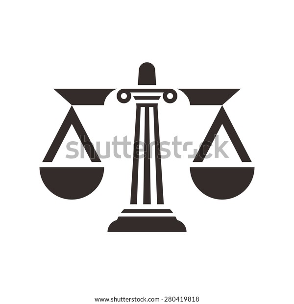 pillar law scale for justice symbol logo and icon vector