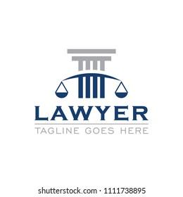 pillar lawyer legal attorney logo icon vector template