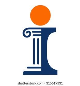 pillar of letter i. logo vector.