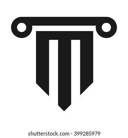 pillar and letter M logo vector.