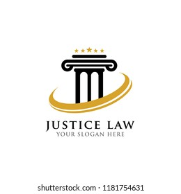 pillar logo design template. justice law and attorney logo design template