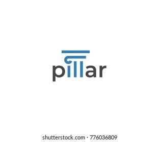 Pillar Logo Template. Column Vector Design. Capital Architecture Illustration