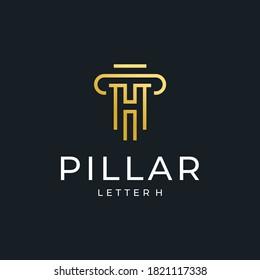 pillar logo vector luxury simple design with golden color